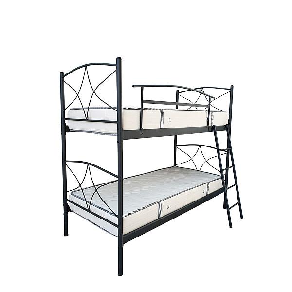 Κρεβάτι Κουκέτα μεταλλικό Rhodes μονό 90x200 -Ελληνικής κατασκευής
